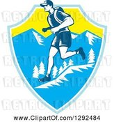 Vector Clip Art of Retro Woodcut Male Cross Country Runner over Mountains in a Blue White and Yellow Shield by Patrimonio