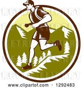 Vector Clip Art of Retro Woodcut Male Cross Country Runner over Mountains in a Brown White and Green Circle by Patrimonio