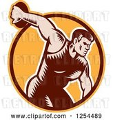 Vector Clip Art of Retro Woodcut Male Discus Thrower in an Orange and Brown Circle by Patrimonio