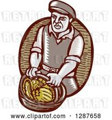 Vector Clip Art of Retro Woodcut Male Farmer Carring a Basket of Harvest Vegetables by Patrimonio