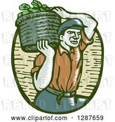 Vector Clip Art of Retro Woodcut Male Farmer Carring a Basket of Harvest Vegetables on His Shoulder by Patrimonio