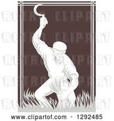 Vector Clip Art of Retro Woodcut Male Farmer Harvesting Wheat with a Scythe in Brown and Gray by Patrimonio