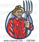 Vector Clip Art of Retro Woodcut Male Farmer Holding a Pitchfork by Patrimonio