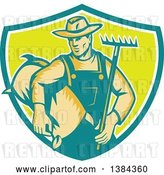 Vector Clip Art of Retro Woodcut Male Farmer Holding a Rake and Sack in a Turquoise White and Green Shield by Patrimonio