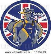 Vector Clip Art of Retro Woodcut Male Farmer Holding a Rake and Sack in a Union Jack Flag Circle by Patrimonio
