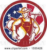 Vector Clip Art of Retro Woodcut Male Farmer Holding a Rake and Sack in an American Flag Circle by Patrimonio