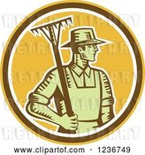 Vector Clip Art of Retro Woodcut Male Farmer Holding a Rake in a Yellow Circle by Patrimonio