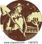 Vector Clip Art of Retro Woodcut Male Farmer Holding a Shovel Against Farmland in a Brown and Yellow Circle by Patrimonio