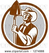 Vector Clip Art of Retro Woodcut Male Farmer Holding a Shovel in a Brown White and Gray Circle by Patrimonio
