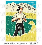Vector Clip Art of Retro Woodcut Male Farmer Standing and Resting on a Scythe in a Wheat Crop by Patrimonio