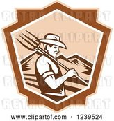 Vector Clip Art of Retro Woodcut Male Farmer with a Pitchfork and Mountains in a Shield by Patrimonio
