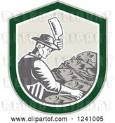 Vector Clip Art of Retro Woodcut Male Fishmonger Chopping Meat in a Green Shield by Patrimonio