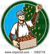 Vector Clip Art of Retro Woodcut Male Fruit Picker Harvesting Oranges in a Green and Blue Circle by Patrimonio