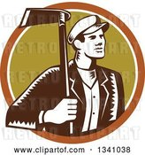 Vector Clip Art of Retro Woodcut Male Gardener Holding a Grub Hoe in a Brown White and Green Circle by Patrimonio