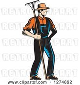 Vector Clip Art of Retro Woodcut Male Gardener or Farmer Holding a Rake by Patrimonio