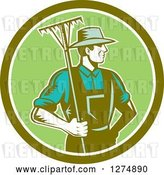 Vector Clip Art of Retro Woodcut Male Gardener or Farmer Holding a Rake in a Green and White Circle by Patrimonio