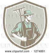 Vector Clip Art of Retro Woodcut Male Gardener or Farmer Holding a Rake in a Shield by Patrimonio