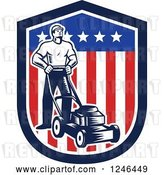 Vector Clip Art of Retro Woodcut Male Gardener with a Mower in an American Shield by Patrimonio