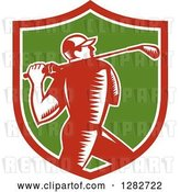 Vector Clip Art of Retro Woodcut Male Golfer Swinging a Club in a Red White and Green Shield by Patrimonio