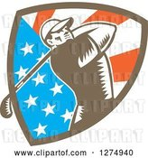 Vector Clip Art of Retro Woodcut Male Golfer Swinging in an American Flag Shield by Patrimonio