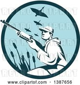 Vector Clip Art of Retro Woodcut Male Goose Hunter Aiming in a Blue Circle by Patrimonio
