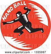 Vector Clip Art of Retro Woodcut Male Handball Player in Action, with Text in a Red Circle by Patrimonio