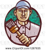 Vector Clip Art of Retro Woodcut Male Hispanic Painter Holding a Brush by Patrimonio