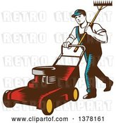 Vector Clip Art of Retro Woodcut Male Landscaper Carrying a Rake and Pushing a Lawn Mower by Patrimonio