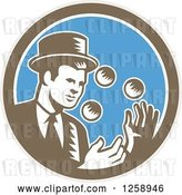 Vector Clip Art of Retro Woodcut Male Magician Juggling in a Brown White and Blue Circle by Patrimonio