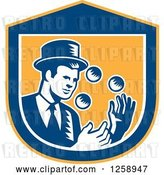 Vector Clip Art of Retro Woodcut Male Magician Juggling in a Yellow Blue and White Shield by Patrimonio