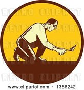 Vector Clip Art of Retro Woodcut Male Mason Worker Kneeling and Using a Trowel in a Brown and Yellow Circle by Patrimonio