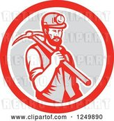 Vector Clip Art of Retro Woodcut Male Miner with a Pickaxe in a Gray and Red Circle by Patrimonio