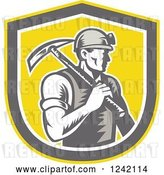 Vector Clip Art of Retro Woodcut Male Miner Worker with a Pickaxe in a Yellow Shield by Patrimonio