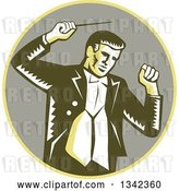 Vector Clip Art of Retro Woodcut Male Music Conductor Holding a Baton in a Yellow and Taupe Circle by Patrimonio