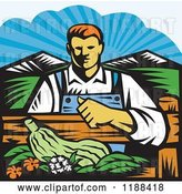 Vector Clip Art of Retro Woodcut Male Organic Farmer with Produce, Behind a Fence by Patrimonio