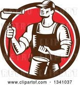 Vector Clip Art of Retro Woodcut Male Painter Holding a Roller Brush and Can in a Brown White and Red Circle by Patrimonio