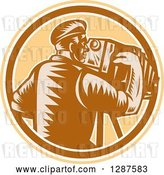 Vector Clip Art of Retro Woodcut Male Photographer Using a Bellows Camera in a Brown White and Tan Circle by Patrimonio