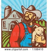 Vector Clip Art of Retro Woodcut Male Pig Farmer Holding a Piglet Against a Farm by Patrimonio