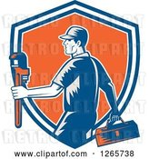 Vector Clip Art of Retro Woodcut Male Plumber Carrying a Monkey Wrench and Tool Box in a Blue White and Orange Shield by Patrimonio
