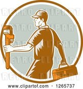 Vector Clip Art of Retro Woodcut Male Plumber Carrying a Monkey Wrench and Tool Box in a Brown White and Green Circle by Patrimonio