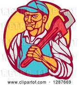 Vector Clip Art of Retro Woodcut Male Plumber Holding a Monkey Wrench in a Circle by Patrimonio