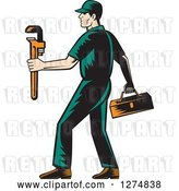 Vector Clip Art of Retro Woodcut Male Plumber Walking with a Tool Box and Monkey Wrench by Patrimonio