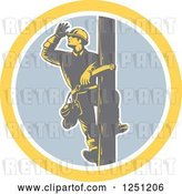 Vector Clip Art of Retro Woodcut Male Power Lineman Looking out on a Pole in a Circle by Patrimonio