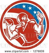 Vector Clip Art of Retro Woodcut Male Quarterback Player Throwing in an American Circle by Patrimonio