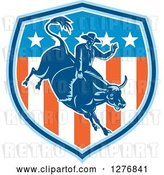 Vector Clip Art of Retro Woodcut Male Rodeo Cowboy on a Bucking Bull in an American Flag Shield by Patrimonio