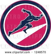 Vector Clip Art of Retro Woodcut Male Runner Sprinting in a Pink Circle by Patrimonio