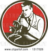 Vector Clip Art of Retro Woodcut Male Scientist Using a Microscope in a Dark Green, White and Red Circle by Patrimonio