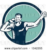 Vector Clip Art of Retro Woodcut Male Shot Put Athlete Throwing in a Blue White and Turquoise Circle by Patrimonio