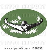 Vector Clip Art of Retro Woodcut Male Swimmer Doing the Butterfly Stroke in a Green Oval by Patrimonio
