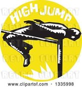 Vector Clip Art of Retro Woodcut Male Track and Field Athlete High Jumping, with Text in a Yellow Circle by Patrimonio